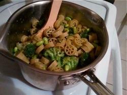 Pasta + Broccoli + Edamame + Homemade Pesto = SURPRISE!