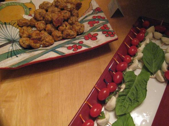 """Sausage"" Cheddar Balls and Caprese Skewers"