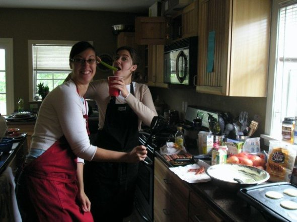 Meg & Stacey on Easter morning, 2007. Forgive me, Stace, for this photo of you enjoying your Blood Mary!