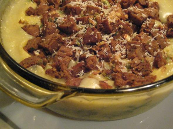 Creamy Polenta with Arugula and Sausage - Small World Supper Club