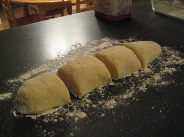 Quarters of Gnocchi Dough