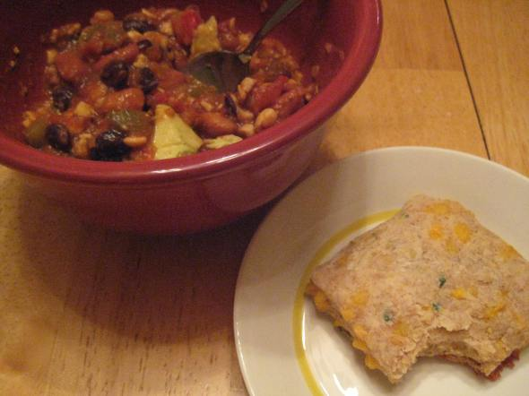 Bean and Tempeh Chili with Cheddar Cilantro Biscuit