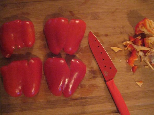 Cored, Flattened Peppers