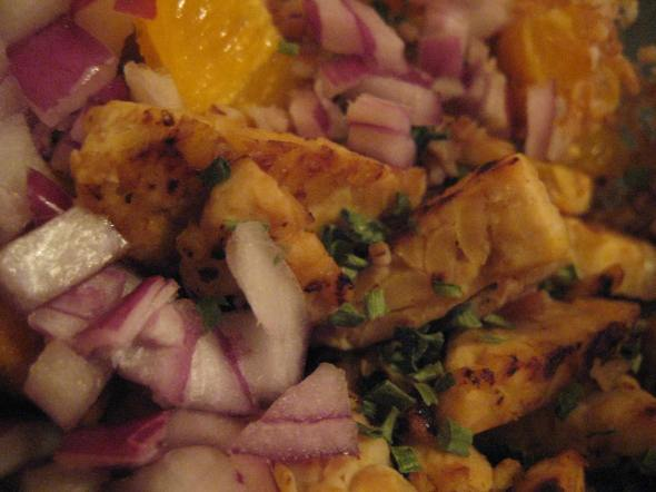 Tempeh with Oranges, Red Onion, and Chives