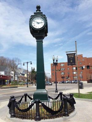 The Peabody Square Clock - Photo from The Dorchester  Reporter