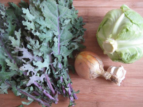 Cabbage and Kale Gratin prep