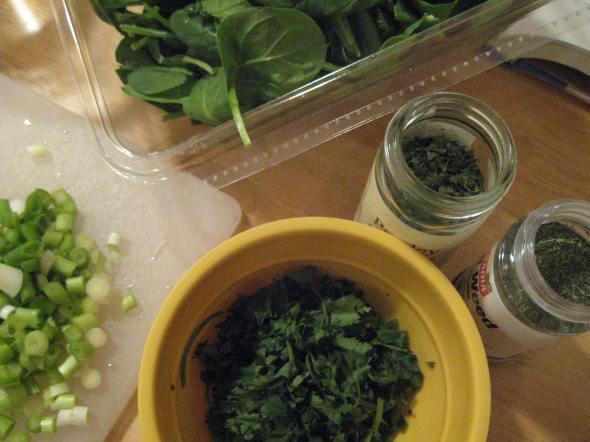 Spinach Torta prep
