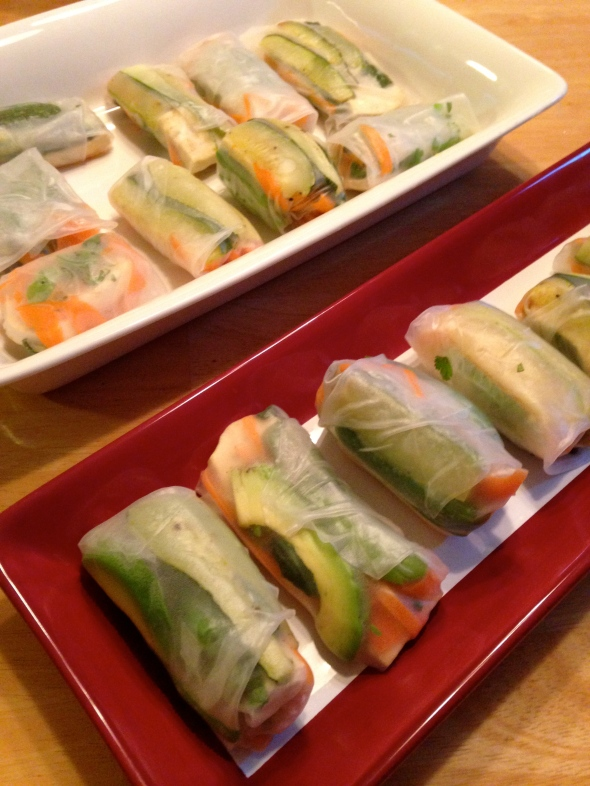 Zucchini, Snap Pea, Tofu Summer Rolls || Small World Supper Club