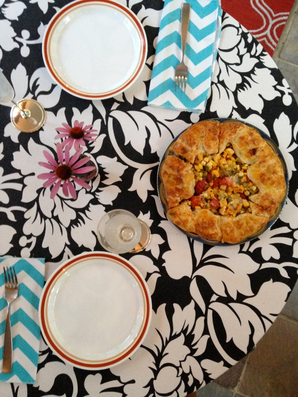 Tomato Corn Zucchini Galette - Table Setting