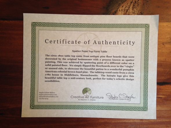 Staples Certificate of Authenticity